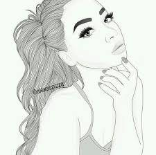 Resultado de imagen para dibujos de chicas a blanco y negro