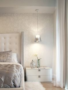 light airy silver glam bedroom