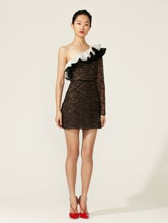 Lace Ruffle One Shoulder Dress by Valentino on Gilt.com
