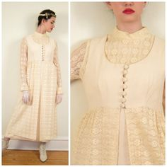 Vintage Crochet Dress and Maxi Vest Ensemble   Boho Bridal Set in Ivory or  Cream   Medium by BasyaBerkman on Etsy 3442863a9