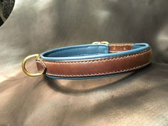 Dog collar all leather stitched hand / Handmade by SellerieCramers