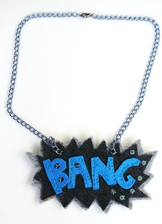 BANG Comic Book  Felt Necklace by Karakoncolos on Etsy, $12.50