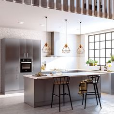 41 veces he visto estas estupendas cocinas con isla. Loft Kitchen, Kitchen Dining, Soho, Home Hacks, Home Bedroom, Industrial Style, Detroit, Sweet Home, Kitchens