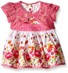 Youngland Baby Girls' Floral Print Dress with Crochet Lace Cardigan *** Unbelievable  item right here! : Baby clothes