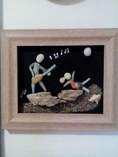 Guijarro único arte pared colgante con materiales naturales