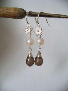 Ohrringe mit Rauchquarz und Perlen, Silber 925 c21 von Edelsteinschmuck  auf DaWanda.com