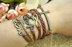 Retro cuff bracelet  Infinity & Cross LoveAnchor by BeautifulShow, $5.99