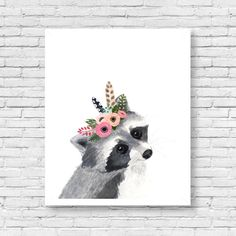 Watercolor Racoon, Woodland Nursery Art, Animal Paintings, Animal Wall Art, Childrens Wall Decor, Kids Art Print, Racoon artwoodland