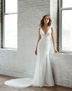 Style 7855 Liana Ti Adora by Allison Webb bridal gown - Ivory lace trumpet bridal gown. V-neckline with trim detailing at waist, sheer chiffon godets, and low back. Fall Wedding Dresses, Wedding Gowns, Bridesmaid Dresses, Lace Wedding, Sheer Chiffon, Couture Fashion, Couture Style, Bridal Gowns, Trumpet