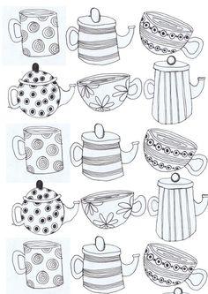tea cups and Tea pots Art Print