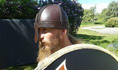 Leather helmet, vendel era style. Made by Henrik Nordholm