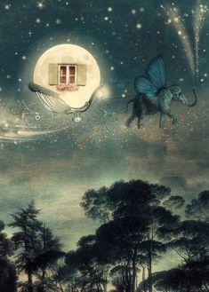 Caracolas en las nubes...: La noche mágica Art Fantaisiste, Moon Dance, Photo D Art, Good Night Moon, Moon Print, Beautiful Moon, Dream Art, Canvas Prints, Art Prints