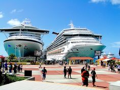 Cruise Port at St. Maarten in the Caribbean, the ship on the left is a Princess cruise ship, come April I will be in this port in one of those ships