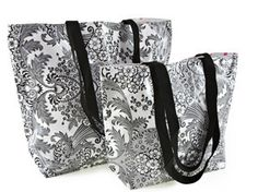 Large Black and White Toile Reversible Oilcloth Tote Bag ~ Made in the U.S.A. by Oilcloth Alley. oilclothalley.com