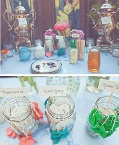 DIY Tea Bar ~ I definitely want a tea & coffee bar at my wedding. This whole idea just makes me almost squeal with glee! My favorite part is the tea bags in mason jars. They have the sweetest little heart tags. Precious!