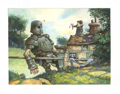 The Art of Larry MacDougall  //  Nana and Goliath  //  gouache on paper. He came down out of the hills in full armour. He stomped through her garden, wrecked her front door and ruined her new table cloth. He even broke her favourite window. When he finally came to he wandered off and never came back.
