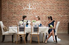 Love the brick background at this shoot - wedding shoot styled by Grand Event Rentals http://www.grandeventrentalswa.com/