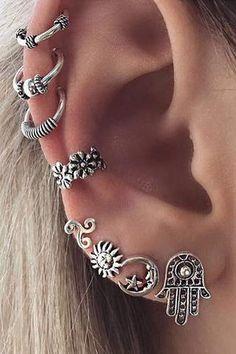 Brincos Vintage Bohemia Sun Moon Silver Earrings Fashion Jewelry No pierced Ear Cuff Clip Earrings For Women Bijoux Piercings Bonitos, Cuff Earrings, Cartilage Earrings, Silver Earrings, Silver Jewelry, Gold Jewellery, Pearl Necklace, Jacket Earrings, Tragus
