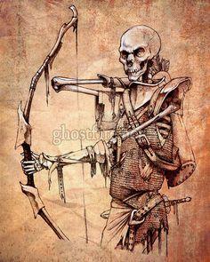 Minecraft Undead Skeleton Archer Art Print  8 x 10 by ghostfire, $10.00