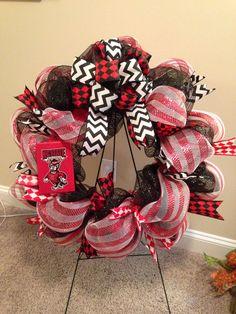 NC State deco mesh wreath