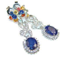 $63.85 Gorgeous!! Multicolor Sapphire Sterling Silver earrings at www.SilverRushStyle.com #earrings #handmade #jewelry #silver #sapphire