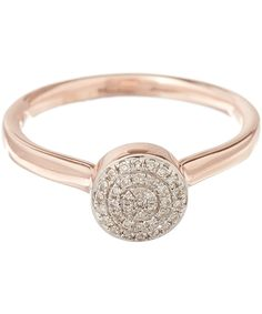 Monica Vinader Rose Gold Vermeil Diamond Ava Button Ring | Jewellery | Liberty.co.uk
