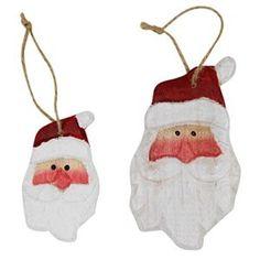Carved Wood Santa Head Christmas Tree Decorations