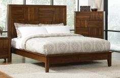 Block designs detail the headboard and footboard of the Joyce bedroom collection. Special features include felt lined top drawer, full extension glides and english dovetail drawers. #mhf