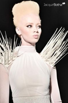 South African Model Thando Hopa, one of the first albino models in South Africa.