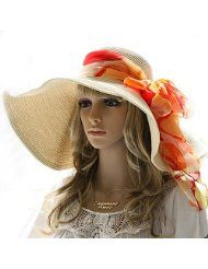 Trendy Sun Hats for Women love the big scarf a good pop of color Very classy white hat with white scarf tied around the brim.Stylish Pure Color Button Asymmetric BlouseKentucky Derby Hats for Women Summer Hats For Women, 2014 Fashion Trends, Fashion 2018, Orange Scarf, Stylish Hats, Art Textile, Cute Hats, Big Hats, Fancy Hats