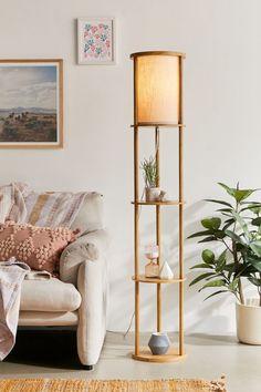 Boho Living Room, Living Room Lighting, Home Lighting, Living Room Decor, Shelf Lamp, Floor Lamp With Shelves, Floor Lamps, Living Room Flooring, Apartment Furniture