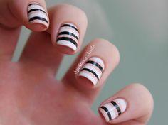 "Stipey Office-Approved Nail Art by Spektor's Nails.  Links to original source.  Essie ""Blanc"" Essence ""Latte"" Wet 'n' Wild ""Black Creme"" Essie Top Coat"
