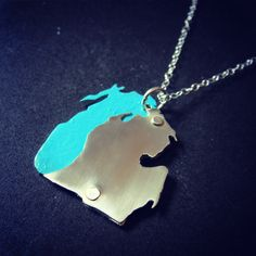 Michigan Pendant Necklace with Lake in Sterling Silver. $55.00, via Etsy.