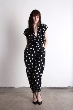 Vintage Jumper  One Piece Polka Dot Pants   VeraVague //