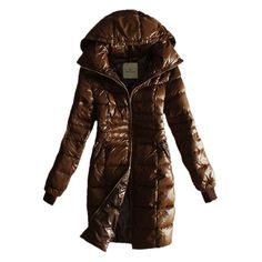 France Moncler Coat Women Gold Zip Hooded Coffee Long Outlet
