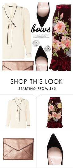 """""""BOWS BOWS BOWS!"""" by chiclookdujour ❤ liked on Polyvore featuring Dorothy Perkins, Alice Archer, Rebecca Minkoff, Kate Spade, bows, velvet and necktieblouse"""
