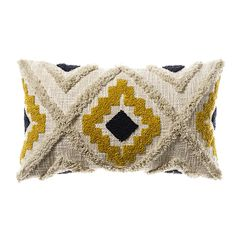 Mexica Cushion Mustard & Navy - Home Republic Find premium statement & comfort cushions in high fashion finishes such as velvet, sheepskin, linen & faux fur, perfect for indoors or out at Adairs Online. Mustard Bedroom, Mustard Bedding, Mustard Cushions, Yellow Throw Pillows, Boho Cushions, Bedroom Cushions, Mexica, Punch Needle, Pillows