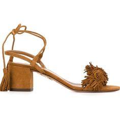 Aquazzura 'Wild Thing' sandals (35.910 RUB) ❤ liked on Polyvore featuring shoes, sandals, brown, aquazzura, real leather shoes, genuine leather shoes, brown leather shoes and aquazzura shoes