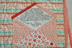 Envelope Quilt Label (the quilt was for a Pen Pal friend)