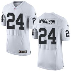 Nike Elite Charles Woodson White Men's Jersey - Oakland Raiders #24 NFL Road