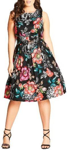 15b3874057 Plus Size Women s City Chic Mystery Flower Fit Figure Flattering Dresses