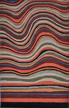 Rugs USA Contemporary Handmade Wool Waves Multi Rug