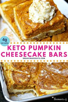 These Keto Pumpkin Pie Cheesecake Bars includes three layers: a grain-free almond flour pecan crust low carb cheesecake and sugar-free pumpkin pie filling. In this post I show you how to make keto pumpkin bars describe whether pumpkin is keto-friendly Sugar Free Pumpkin Pie, Keto Pumpkin Pie, Pumpkin Pie Recipes, Pumpkin Bars, Healthy Pumpkin, Pumpkin Cream Cheese Bars, Pumpkin Pie Fat Bombs, Keto Friendly Desserts, Low Carb Desserts