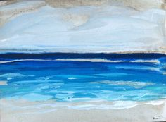 Abstract Beach Painting aqua blue by Marendevineart on Etsy
