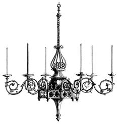 Victorian chandelier illustration, black and white graphics, Hardman brass chandelier, vintage lighting, spooky Halloween clip art, antique light fixture