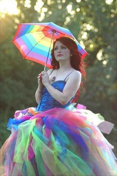 Fluffy rainbow dress. Photo by Dru Swann. Hair, make-up, and skirt by me. Skirt is for sale!      by ugg-off, via Flickr.  http://www.facebook.com/DruSwannsPhotography