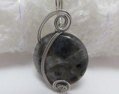 Larvakite Pendant, Silver Wire Wrapped Gemstone Necklace, Black and Silver Larvakite Necklace