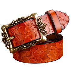 Hot Fashion Wide Genuine Leather Women Belt Vintage Floral Luxury Belts For Women Top Quality Strap For Jeans Ceinture Leather Buckle, Leather Belts, Cow Leather, Women's Belts, Jeans Belts, Wide Belts, Leather Skin, Real Leather, Cuir Vintage
