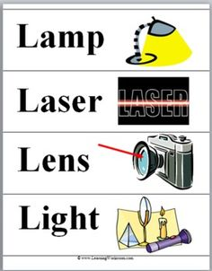 Light and Color Science Word Wall Cards