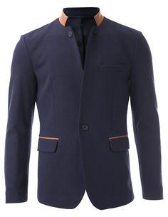 FLATSEVEN Mens Casual Slim fit 2 Tone Mandarin Collar Blazer Jacket with Pocket Flaps (BJ501) Navy, M